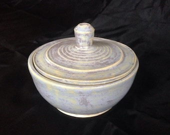 Handmade, ceramic, wheel thrown lidded bowl, aged light blue