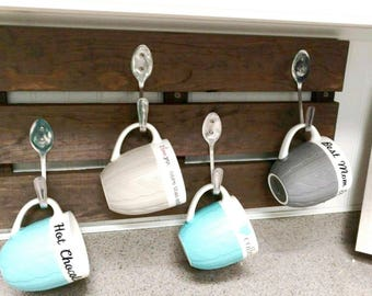 Rustic, Pallet Style, Coffee Mug Holder, Coffee Cup Holder, Coat & Stocking Hanger - Customizable Sizes. Non-Toxic Finish