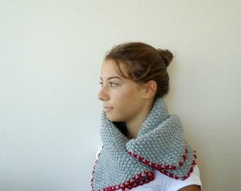 Gray Grey Knitting neckwarmer cowl  READY TO SHIP  Fall Fashion