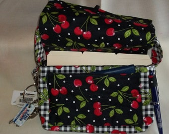 Coupon Organizer Tote Bag Cherries on black w black & white checks w cherries Quilted Sorts Coupons w Key and Pen Hoder