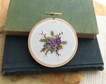 Purple Roses, Cherry Blossoms and Ferns Bouquet, Embroidered Hoop Art