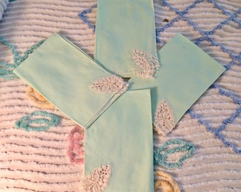 Linen napkins, aqua, robins' egg blue, white trim, bridal lunch, summer