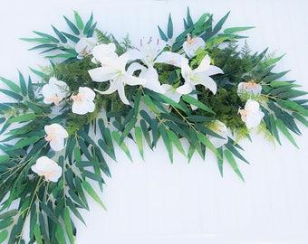 Wedding Arch Tropical Garland Swag Garland - Lilies Orchids & Callas Silk Arrangment White or YOUR COLORS Wedding Gazebo