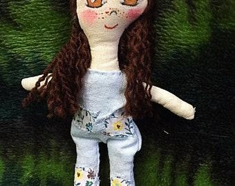 Country Girl Handmade Cloth Art Doll Plush