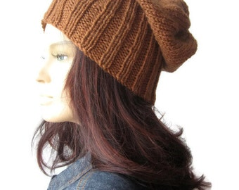 Winter Hat, Alex Hat,Hand Knit Hat,Toffee Watchman Cap,Knit Slouchy Hat, Vegan Knits, Vegan Hat, Winter Fashion, Mens Hat, Womens Hat