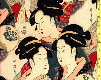 Japanese Asian Quilting Fabric - Alexander Henry - Sisters of the Golden Temple - Tea Dyed