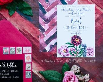 Wedding Invitation, Printed Wedding Invitation, Boho Wedding Invitations, Wedding Invite, Wedding Invite, Floral Wedding Invitation, 1304