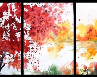 Triptych May 2018 no.2, original watercolor by Sumiyo Toribe