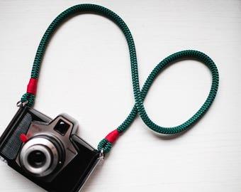 Tracolla fotocamera vintage | Tracolla in corda morbida verde e rossa | Tracolla macchina fotografica reflex imbottita camera strap unisex