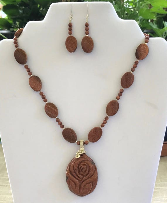 Goldstone Necklace Set