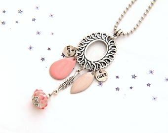 sequin pink enamel powder nude charm Lampwork Glass Bead Necklace