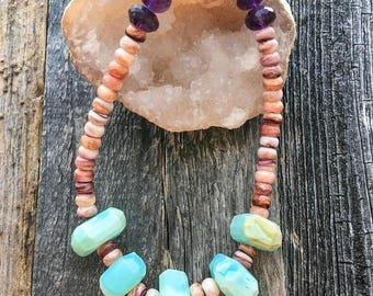 Spiny Oyster Necklace | Peruvian Opal Necklace | Amethyst Necklace | Bohemian Necklace | Gemstone Necklace