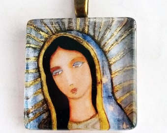 Our Lady of Guadalupe - Original Small Glass Tile Pendant  by FLOR LARIOS ART