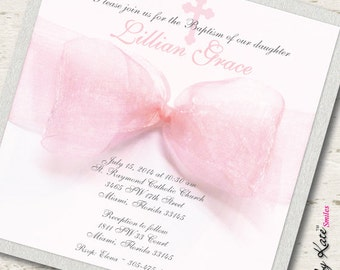 Communion Invitation Girl Communion Invitation - Real Ribbon