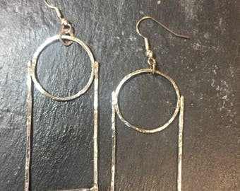 Circle and rectangle earrings