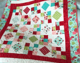 Little Red Riding Hood Pink Red Teal baby quilt scrappy nine patch pattern  Lil Red