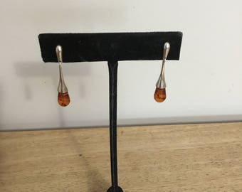 Modernist Baltic Amber Sterling Drop Earrings
