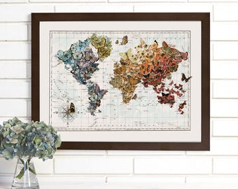 Butterfly Map Art, Butterfly Migration, Vintage Butterflies World Map Lithograph