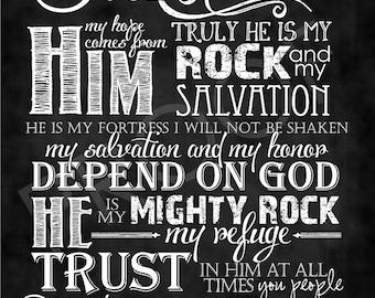 Scripture Art - Psalm 62:5-8 Chalkboard Style