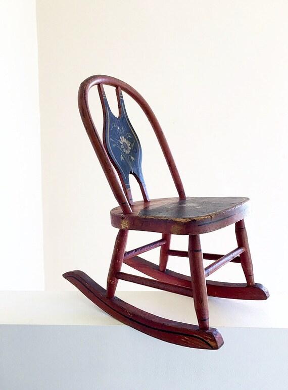 Miniature Red Rocking Chair ~ Antique original paint miniature primitive rocking chair