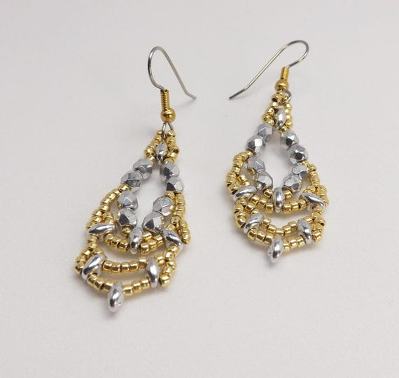 Gold and Silver Beaded Vintage Style Earrings SKU ER1024