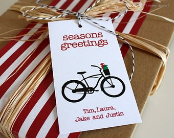 Christmas Tags Printable Bike Tags Bicycle Tags Holiday Tags Holiday Bike Tags Holiday Bicycle Tags Christmas Bike Labels Favor Tag Gift Tag