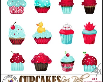 INSTANT DOWNLOaD Lori Beth CUPCAKES set 3 with 12 Digital Graphics Clip Art png files Red Teal Aqua Brown kistch retro 50s cherry cupcake