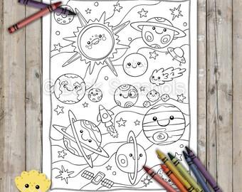 Kawaii Space Printable Coloring Page