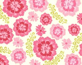 Tissu Patchwork coton de Free Spirit  Fleurs stylisées roses et feuilles vert anis