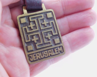 1970's Vintage Solid Brass Keychain From Jerusalem Arta Hand Made in Israel  dr23