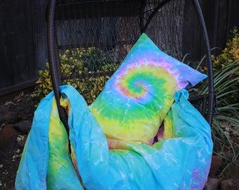 student bedding, college dorm bedding, twin duvet cover, student bed linen, tie dye comforter, rainbow tie dye, hippie tie dye, tie dye
