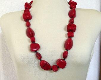 Dark Red with Black Speckles Abstract Art Glass Beads Chunky Necklace Vintage Haute Couture