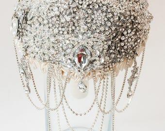Brooch Bouquet. Silver crystal Bouquet, Unique Wedding Bridal Bouquet