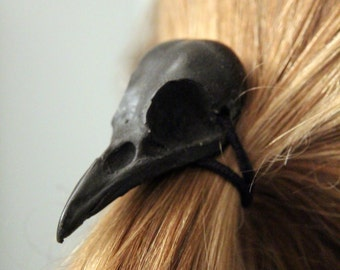 Crow Skull Hair Tie - Pony Tail Holder -Bird 2046