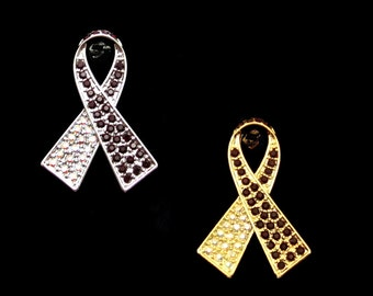 Crystal Burgundy Red Clear Ab White Ribbon Bow Head And Neck Cancer Awareness Brooch Pin Silver Tone Gold Tone
