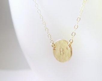Tiny Hammered Initial Necklace - Simple Hammered Tiny Gold Filled Initial Disc on Delicate Gold Filled Chain