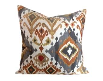Gray Gold Ikat Pillow Cover