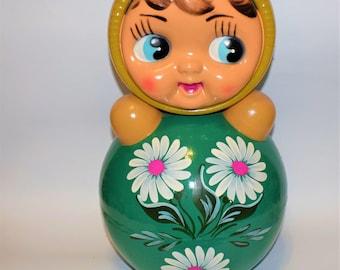 Sale 40 cm!!! Big Chubby Roly-poly toys Large Soviet green Nevalyashka Vintage Celluloid children's tumbler Tilting doll USSR Soviet toy ''
