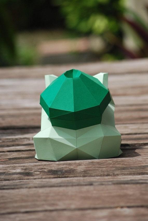 Paper Craft DIY Bulbasaur Pokemon Model Art