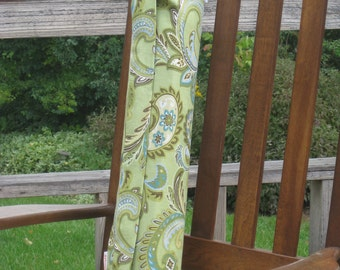 Green Paisley Cotton Yoga Mat Tote with Keychain