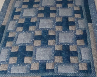 Handcrafted and Hand-quilted Log Cabin Variation Crib Quilt or Decorative Throw