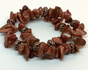 Double Stack Goldstone and Copper Stretch Bracelet with Matching Earrings