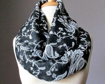 Infinity Scarf , Pashmina , Black and white scarf