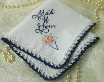 Maid of Honor Handkerchief, Maid of Honor Gift, Bridal Party Gift, Custom Embroidered, Navy Blue, Ready to ship