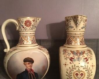 Rare. Pair of large vases Cilli Schutz. 1892 Bohemian. Ceramic J.Tazdera and L.sipek.