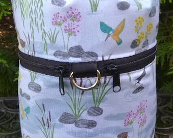 Otter knitting bag, drawstring bag, knitting in public bag, small project bag, Otter Pond, Kipster