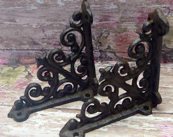 "Wall Shelf Bracket Mini 4"" Cast Iron Small Ornate Scroll Brace Natural Raw Decorative Do it Yourself Brackets 1 Pair (2 individual brackets)"