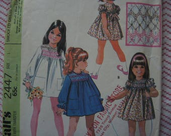 vintage 1970s McCalls sewing pattern 2447 babies smocked dress with transfer size 1 year
