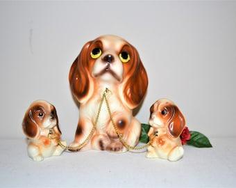Vintage Dog Family with Big Eyes Kitsch