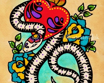 Day Of The Dead SNAKE Mexican Folk Art Sacred Heart Tattoo Print 5 X 7